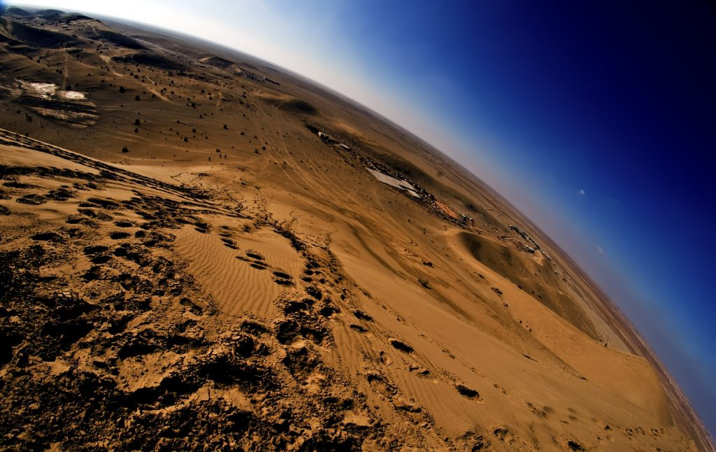 Mesr Desert in Iran through a fish eye lens. Photograph by Faramarz Zareian